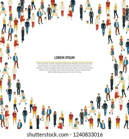 Large group of people in the shape of circle on white background. Vector illustration. Crowd frame