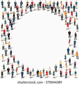 Large group of people in the shape of  circle . Vector illustration.
