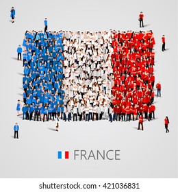 Large group of people in the shape of France flag. French Republic. Vector illustration