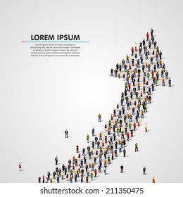 Large group of people in the shape of a grossing arrow. Way to success business concept. Vector illustration