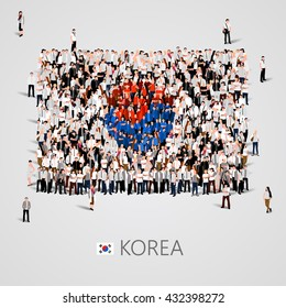 Large group of people in the shape of  Korea flag. Republic of Korea. Vector illustration