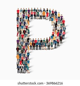 A large group of people in the shape of the letter P. Vector illustration.