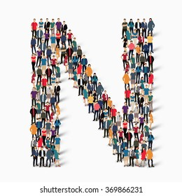 A large group of people in the shape of the letter N. Vector illustration.