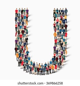 A large group of people in the shape of the letter U. Vector illustration.