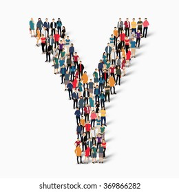A large group of people in the shape of the letter Y. Vector illustration.