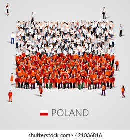Large group of people in the shape of Polish flag. Republic of Poland. Vector illustration