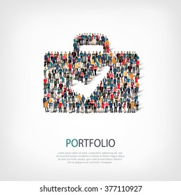 A large group of people in the shape of a portfolio, a check mark. Vector illustration .