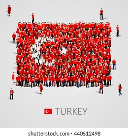Large group of people in the shape of Turkish flag. Republic of Turkey. Vector illustration