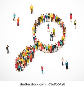 Large group of people stand in a magnifying glass sign. Vector illustration on white background. Concept of person search. Request recruiter for job applicants.