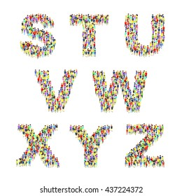 Large group of people standing as letters. Flat 3d isometric alphabet.