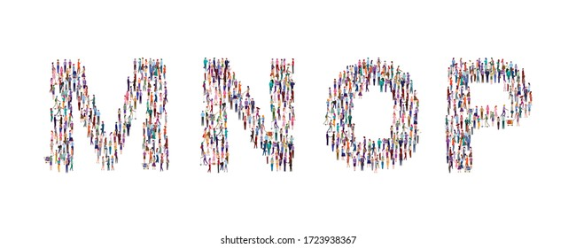 A large group of people standing in the shape of the alphabet. High angle view or top view image. Vector illustration. Isolated, white background.