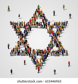 Large group of people in the Star of David shape. Judaism sign. Jewish background.  Religious symbol. Vector illustration