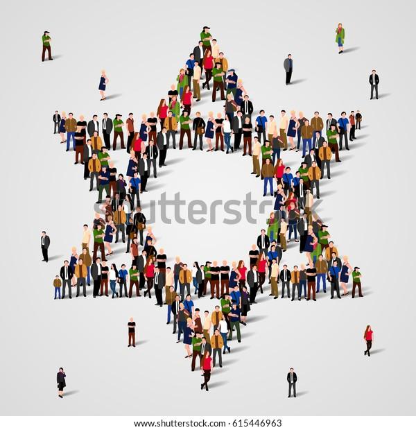 Große Gruppe von Menschen in der Star of David Form. Judentum-Zeichen. Jüdischer Hintergrund. Religiöses Symbol. Vektorgrafik