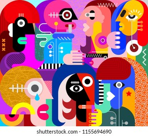 Large group of people vector illustration. Modern abstract fine art painting.