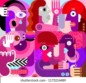 Large group of people vector illustration. Modern abstract fine art painting. Weeping woman with bare breasts.