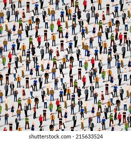 A large group of people. Vector seamless background
