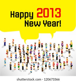 a large group of person celebrating 2013 new year vector design