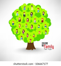 a large group of pixel people with family tree vector icon design
