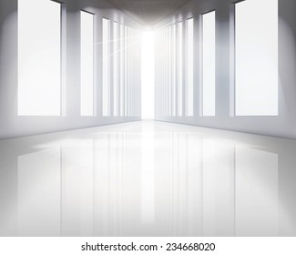 Large hall. Vector illustration.