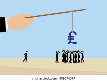 A large hand holds a Sterling symbol on a stick while employees flock around it. A metaphor on management, leadership, motivation and financial incentive.