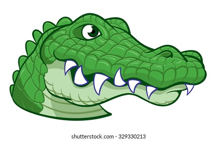 Large Head of a hand drawn wild happy alligator