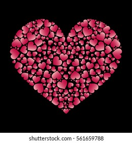 Valentines Day Heart Illustration Black Background Stock