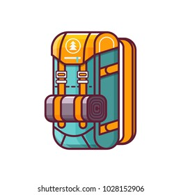 Large hiking backpack in flat design. Tourist rucksack with sleeping bag. Green camping classic back pack icon. Hiking bag vector illustration in line art style.