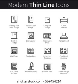 Large household appliances set. Kitchen cooking, ovens, food storage, dish washing and garbage disposal. Thin black line art icons. Linear style illustrations isolated on white.