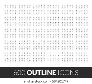 Large icons set, 600 outline black vector pictograms, isolated on white background
