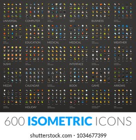 Large icons set, 600 vector pictogram of flat isometric colored with shadows isolated on gray background