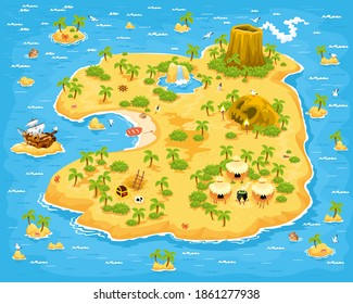 A large island with palm trees, treasures, chests, huts, mountain, waterfall, cave sea, and ship. Background for games.