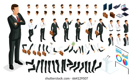 Large isometric Set of gestures of hands and feet 3D character businessman. Create your person office worker, walks around or sits for vector illustrations.