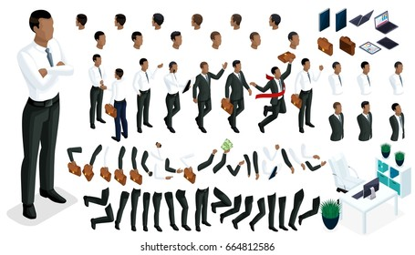 Large isometric Set of gestures of hands and feet 3d character of an African American businessman. Create your character office worker, walks around or sits