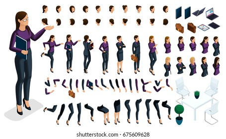 Large isometric Set of gestures of hands and feet of a woman 3d business lady. Create your own isometric character in stylish clothes, an office worker for vector.