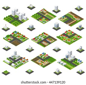A large kit of 3D metropolis of skyscrapers, houses, gardens and streets in a three-dimensional isometric view