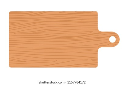 Large kitchen wooden board for slicing vector flat material design isolated on white