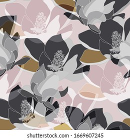 Large lilac and grey color inflorescences of flowers. Floral seamless pattern. Vector illustration with hand drawn plants.