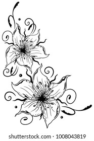 Large lilies with floral element. Summer time.