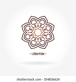 Large logo with hearts. Logotype in the shape of a flower with beautiful petals. Beautiful circular logo. Simple geometric logo. Company logo. Simple geometric logo. Mandala logo. Gradient logo.
