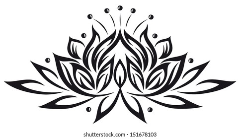 Large lotus flower in tattoo style. Yoga and wellness.