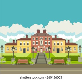 a large mansion near which is a beautiful park with trees and benches seating area in the countryside