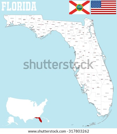 Map State Of Florida.Large Map State Florida All Counties Stock Vector Royalty Free