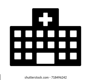 Large medical center or general hospital building flat vector icon for medical apps and websites