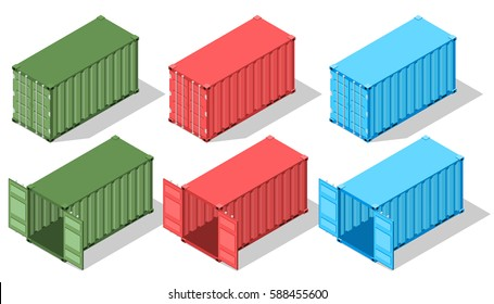 Large metal containers for transportation. Isometric view. Open and closed doors. Boxes of different colors. Delivery of cargo. Shipping. Vector illustration.