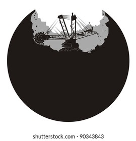 A large mining earth mover/excavator digs up a planet - black and white vector illustration