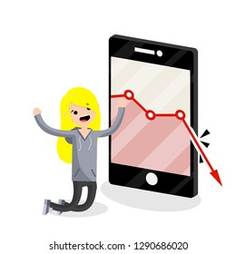 Large mobile phone with falling red business graph. Sad young blogger girl on knees. decrease in views and subscribers. Internet statistics. Business problem. woman and a smartphone. Flat illustration
