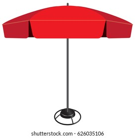 Large modern industrial umbrella with lower weighting