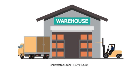 Large modern warehouse with forklifts ,  Flat Vector Illustration Background