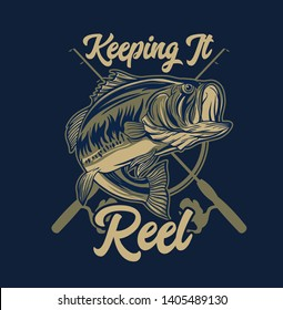 Large mouth Bass Fishing with Rod and Typography Keeping It Reel