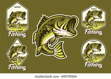 Large mouth Bass Jumping with various emblem